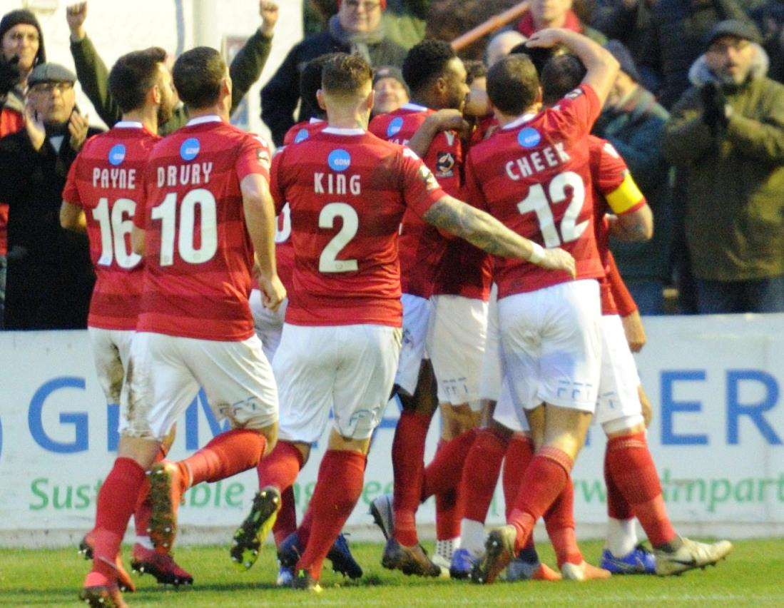 Ebbsfleet celebrate during their home win over National League leaders Leyton Orient last month. Picture: Simon Hildrew