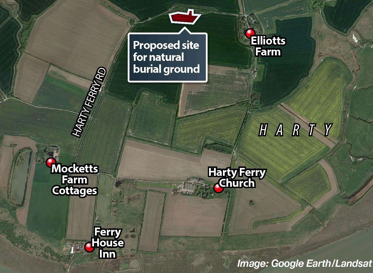 A graphic showing whereabouts the proposed natural burial ground would be at Harty