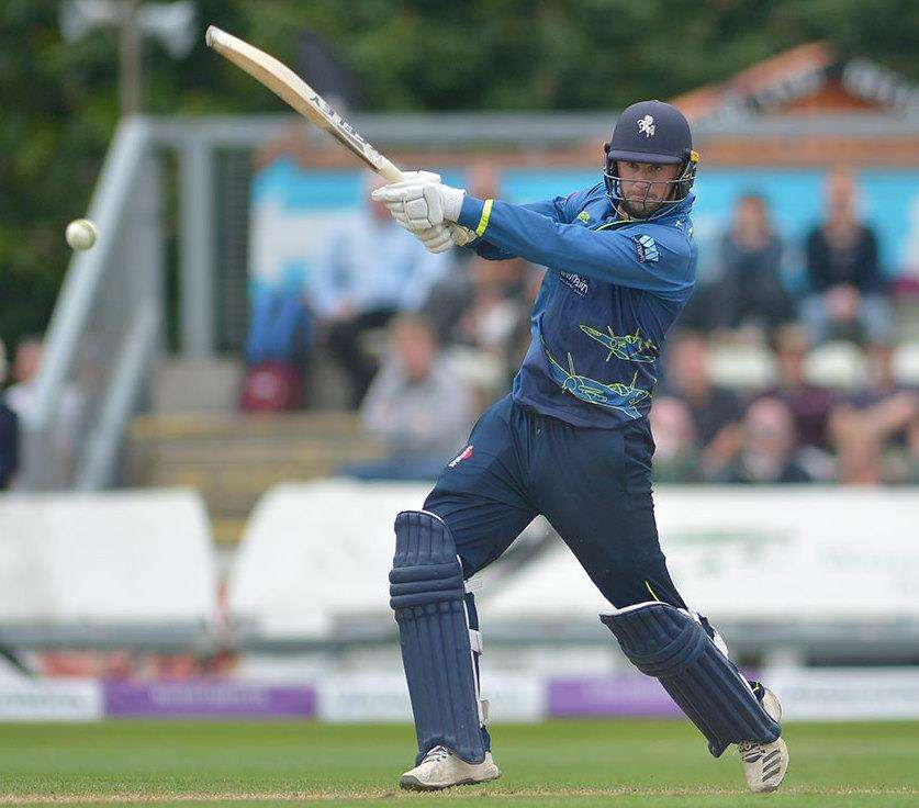Alex Blake batting for Kent in their semi-final win against Worcestershire. Picture: Ady Kerry (2578726)