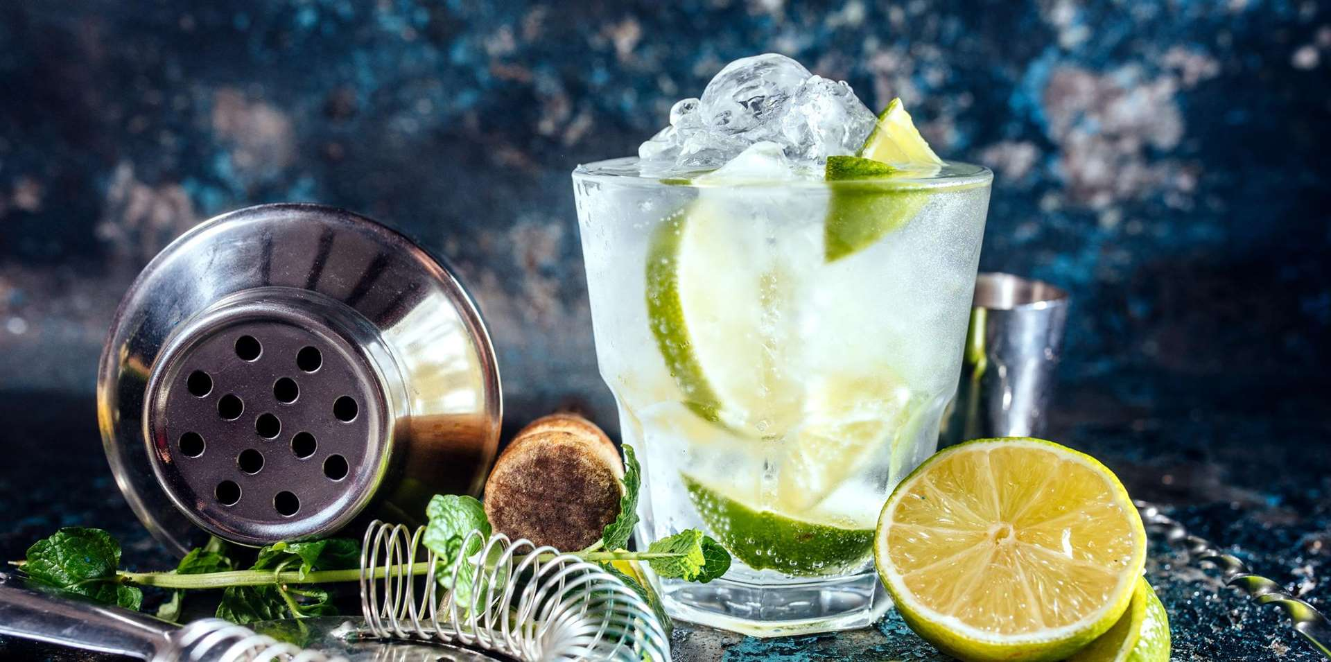 A gin tonic alcoholic cocktail with ice and mint. A taste of summer!