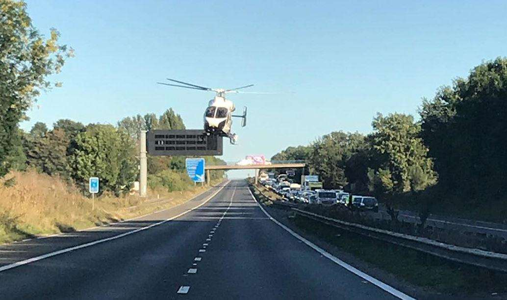 An Air Ambulance landed on the M2 near Sittingbourne after the crash