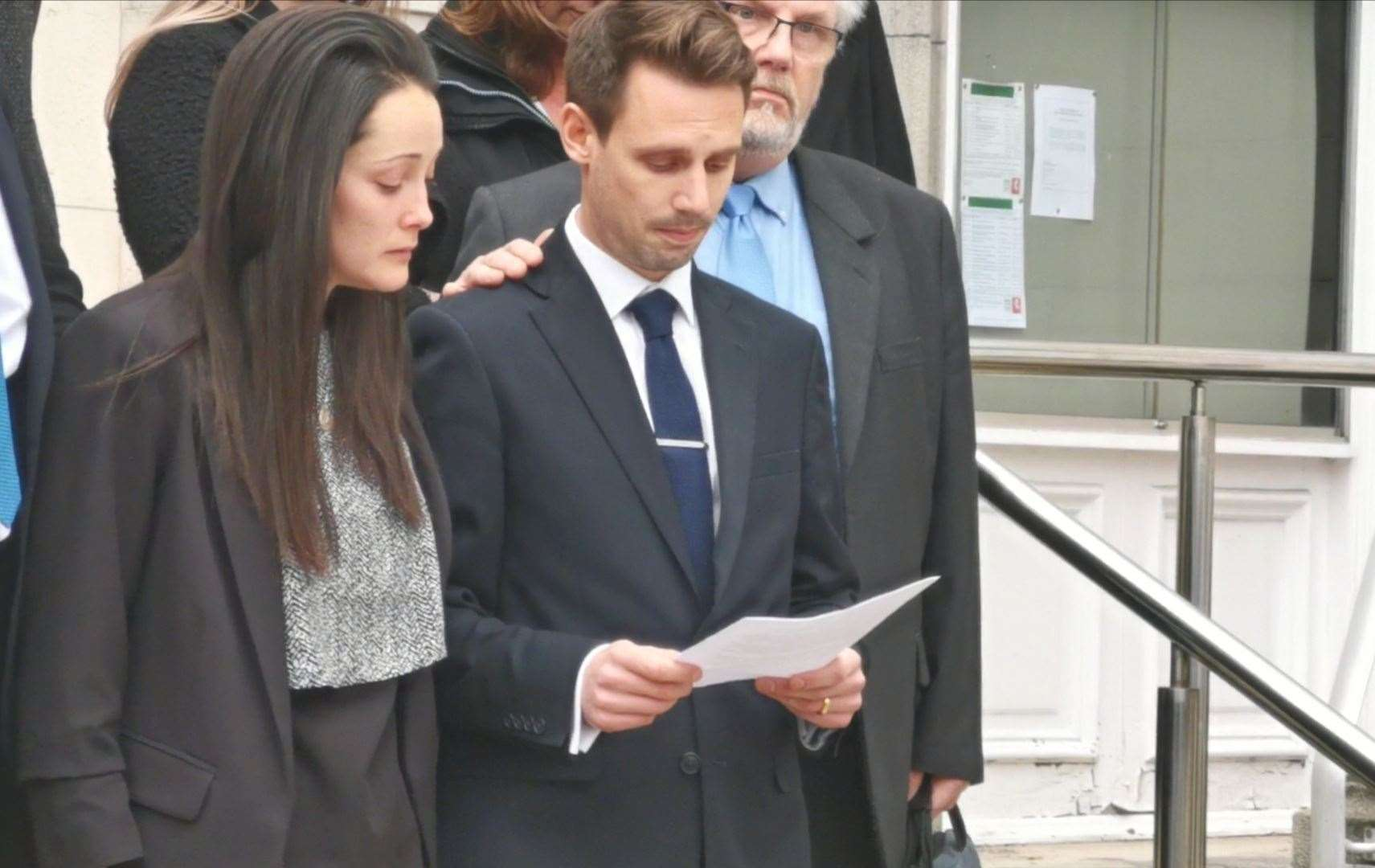 Sarah and Tom Richford speaking after the inquest