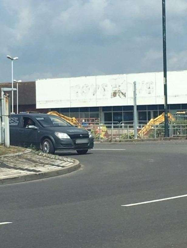The Toys R Us sign as been removed at the Horsted Retail Park Store (11123597)