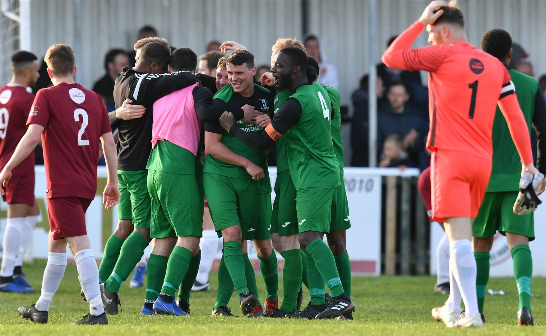 Cray Valley's players celebrate at the final whistle Picture: Keith Gillard