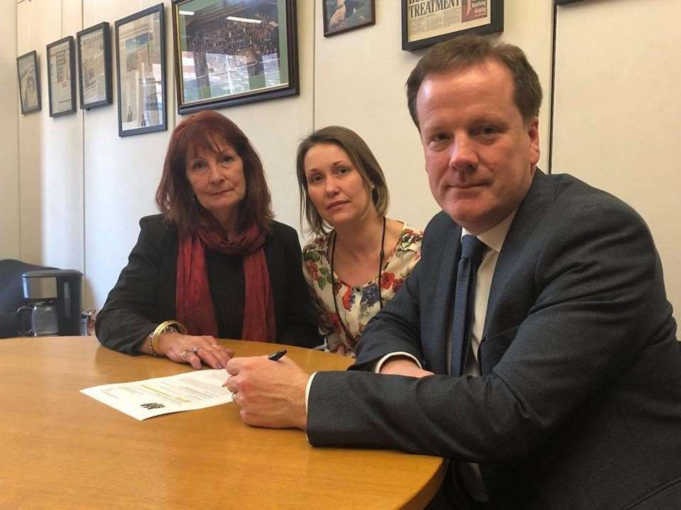 Dover MP Charlie Elphicke with Lyn Richardson and Rebecca's sister Kate.