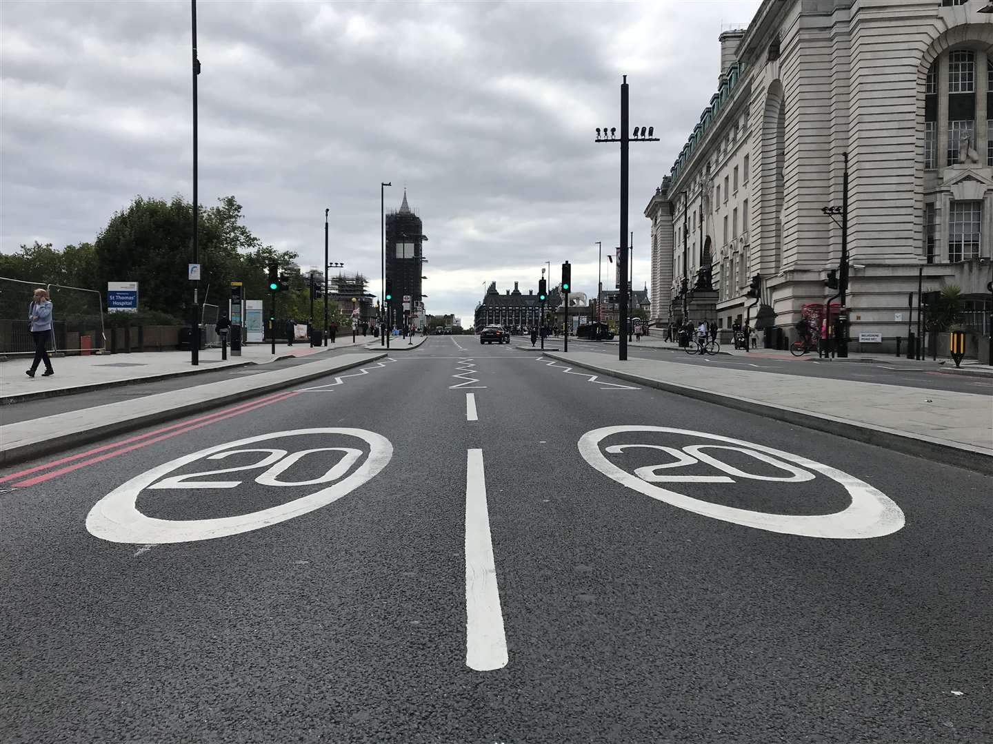 The 20mph limit on Westminster Bridge in London