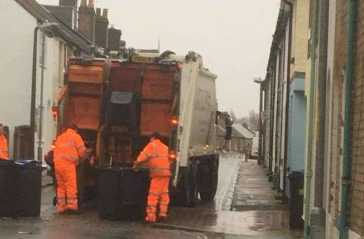Serco workers collecting bins on Albert Street, in Whitstable