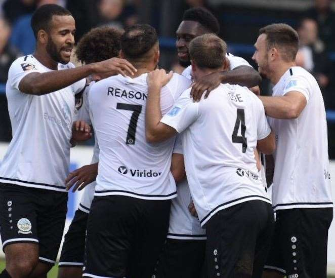 Dover celebrate Bobby-Joe Taylor's stunning free-kick against Notts County Picture: Alan Langley