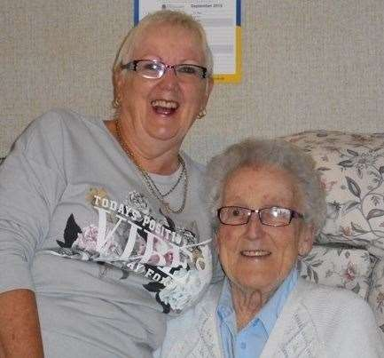 Wayfarers is a happy place now under threat: Linda Bushell with her 93-year-old mum Barbara who lives at at Kent County Council home in Sandwich