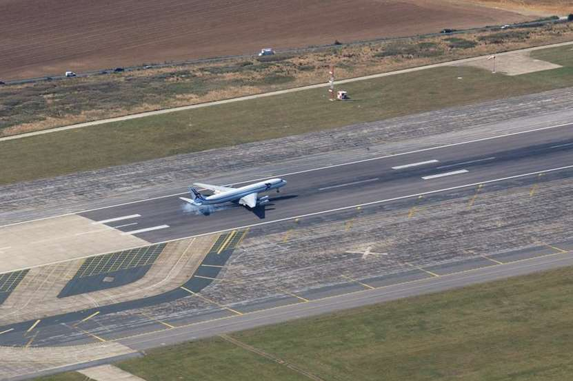 A plane landing at Manston airport before its closure. Picture: Simon Burchett