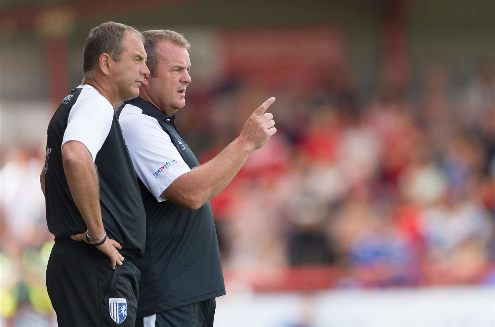Gillingham manager Steve Lovell and assistant Mark Patterson plot Accrington's downfall on Saturday Picture: Ady Kerry