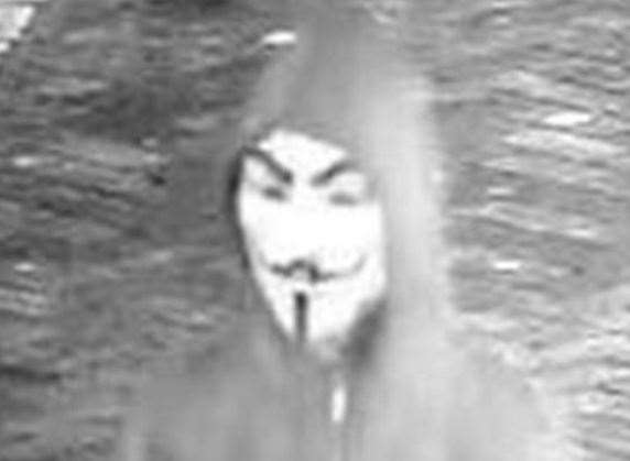 An image of the V for Vendetta mask which terrified students in Canterbury