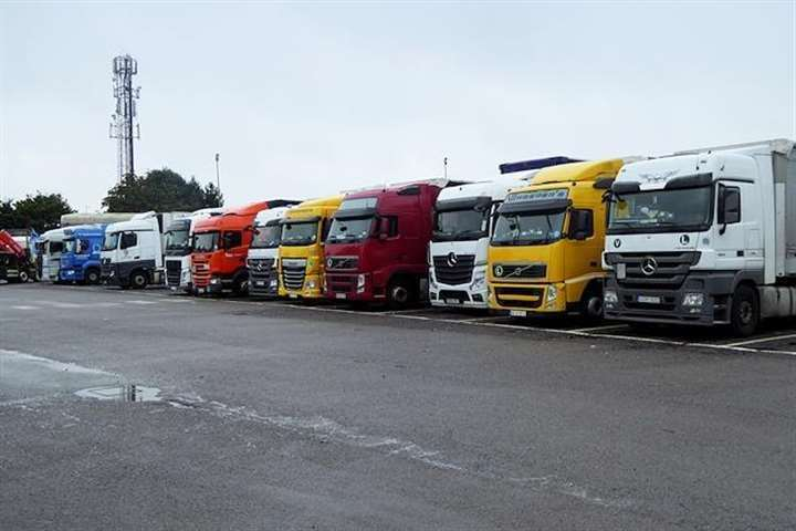 The lorry park would have catered for hundreds of HGVs