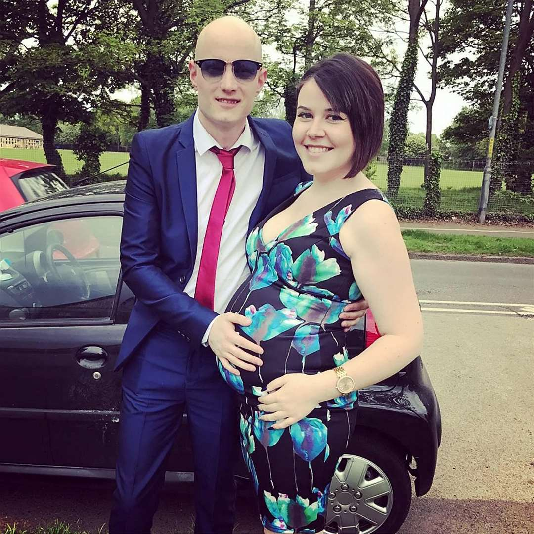 Simon Thompson and Maxine Campbell during pregnancy. Picture: SWNS