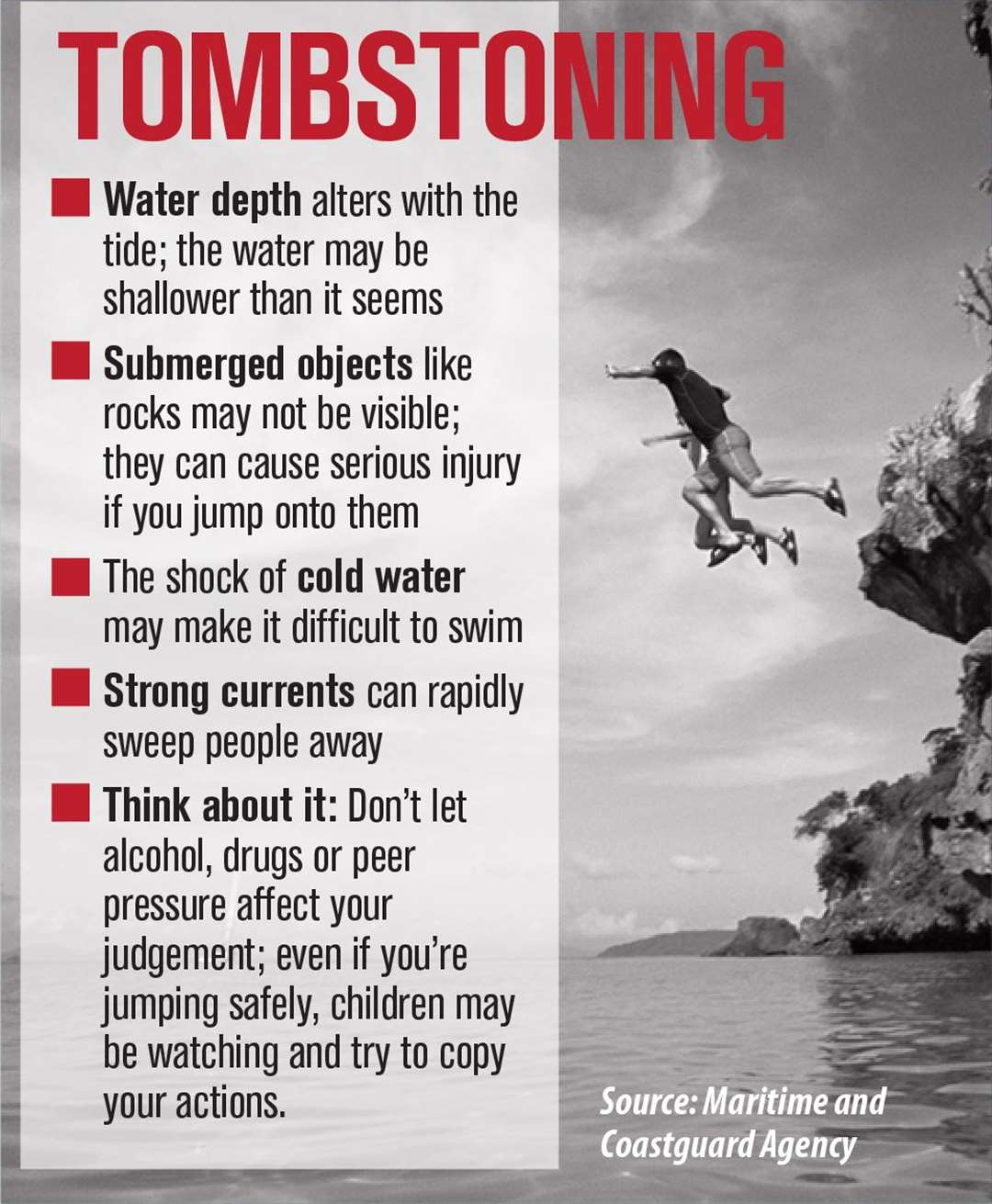 The Tombstoning warning issued by the coastguard