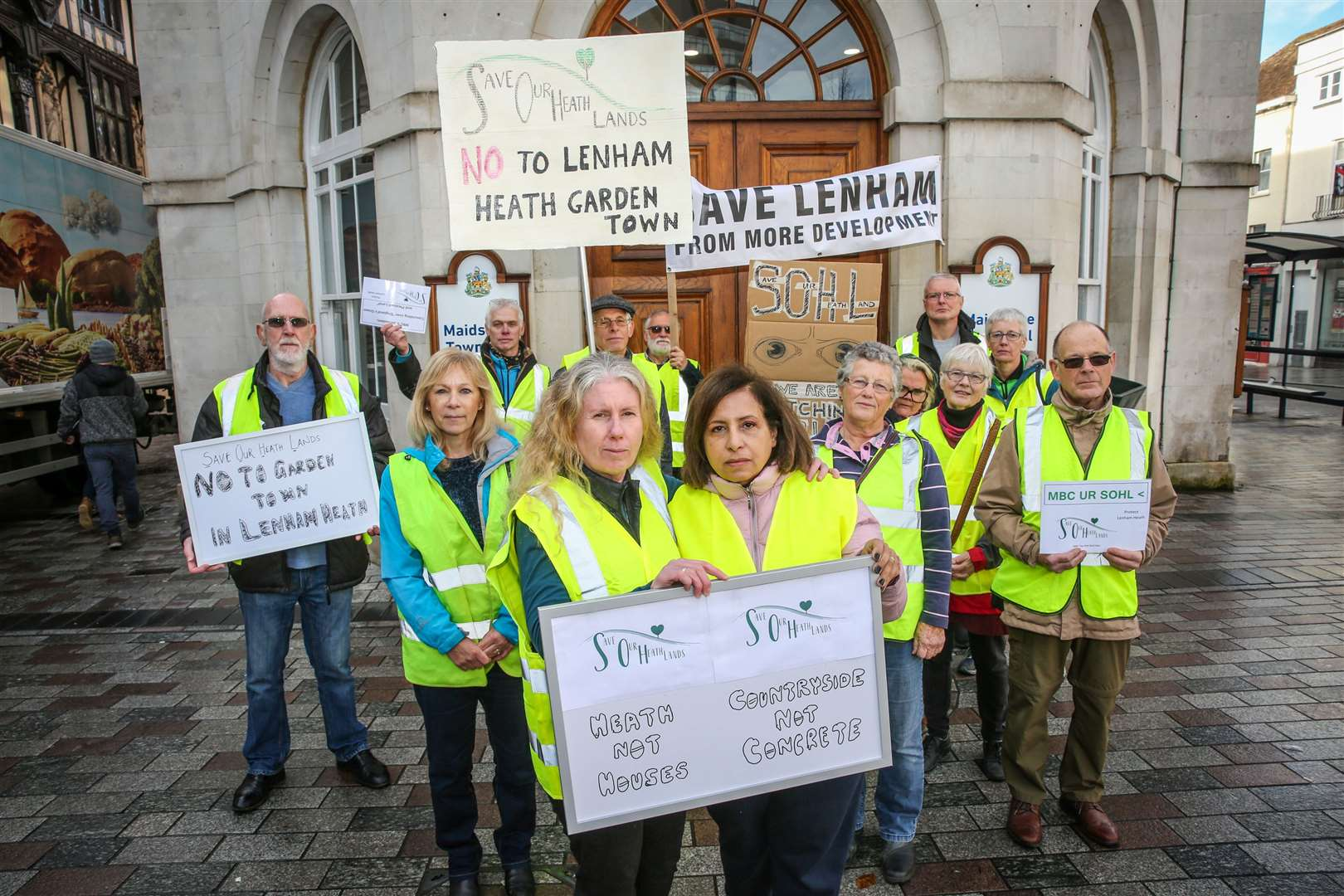 Campaigners protest against plans for a garden community in Lenham. Picture: Matthew Walker