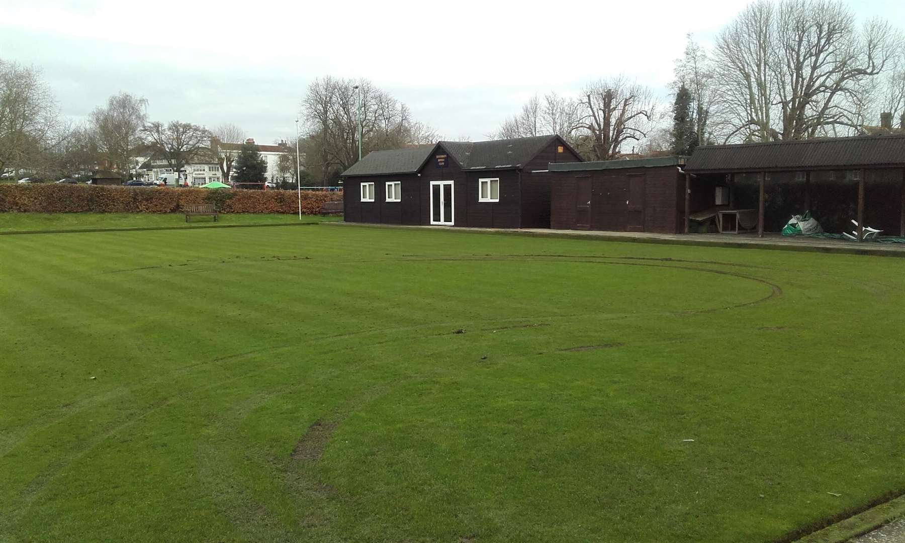 The churned-up bowling green