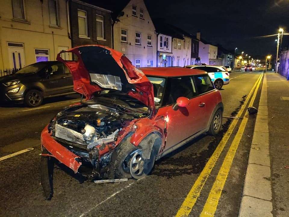 The driver of a Mini Cooper left the scene of the crash in Luton Road, Chatham. Picture by George Atzev
