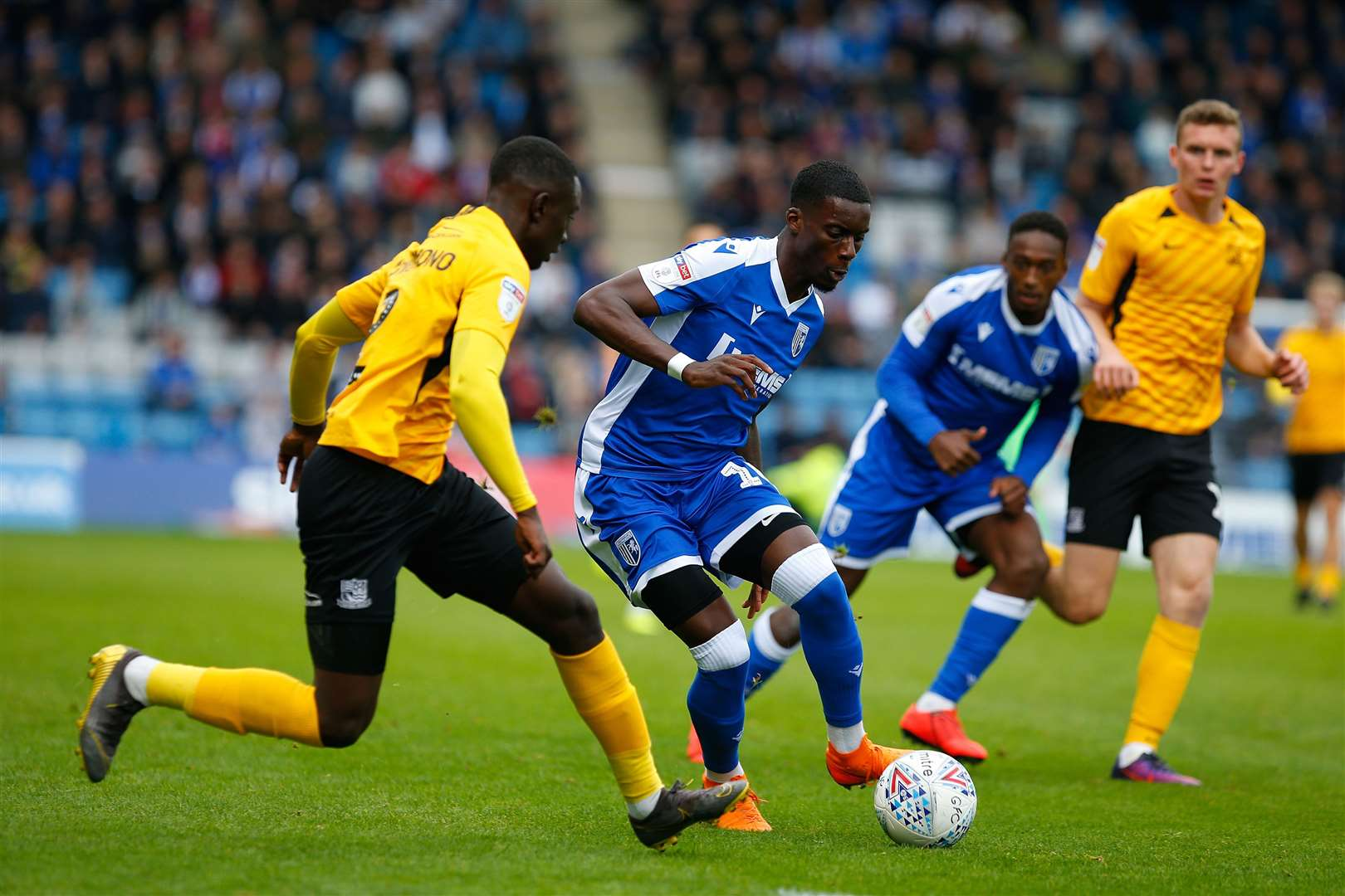 Mikael Ndjoli on the ball for Gillingham Picture: Andy Jones