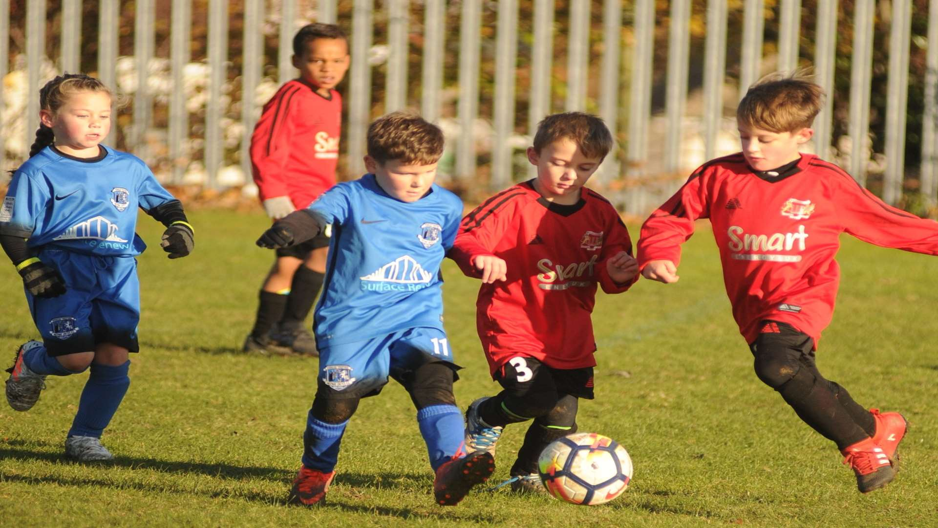Medway United East under-7s and Woodcoombe Youth under-7s get stuck in Picture: Steve Crispe
