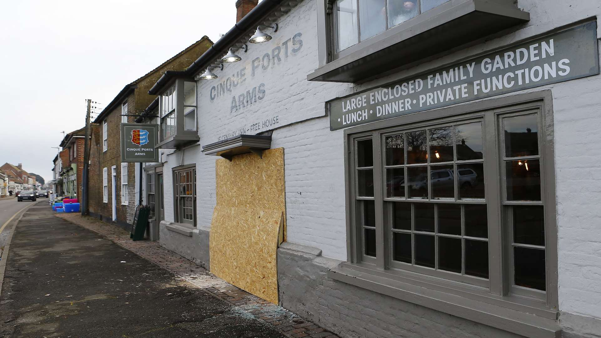 The pub has been boarded up as repair work gets underway