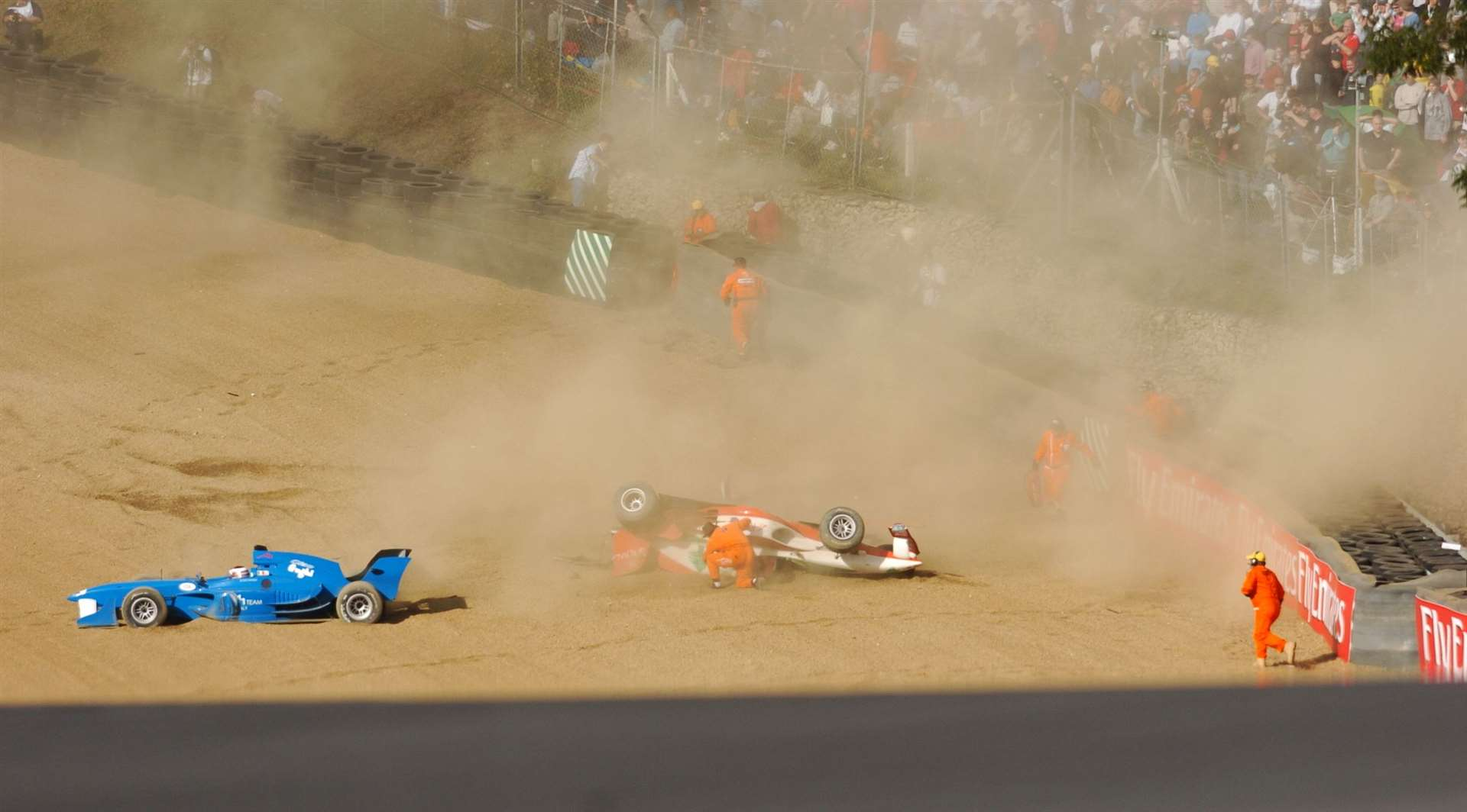 The crash involved Italy's Enrico Toccacelo and Lebanese driver Khalil Beschir. Picture: Barry Goodwin