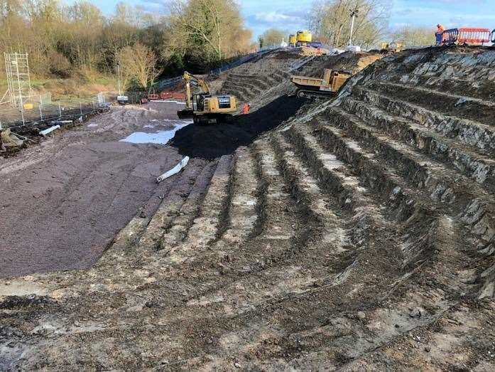 40,000 tonnes of stone is to be brought in by train. Picture: @NetworkRailSE