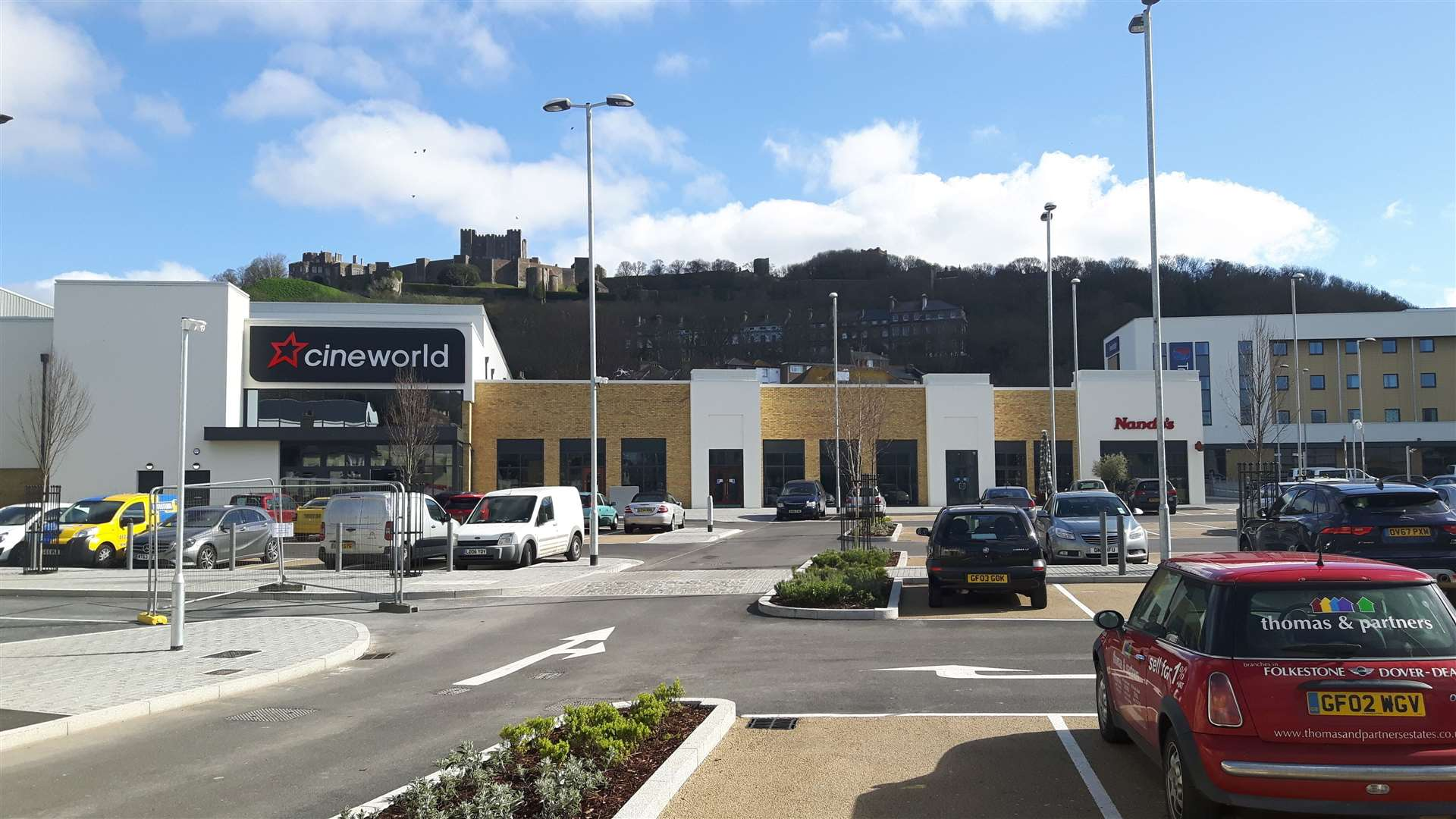 St James' with Cineworld, the first business to open there, and Dover Castle in the background. Picture: Sam Lennon
