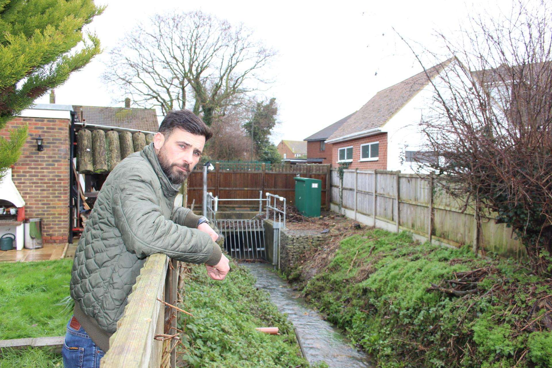 Sean Maxwell overlooks the stream next to his home in Sheerstone, Iwade (6963567)
