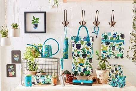 Sophie Conran garden accessories in gorgeous blue and green prints