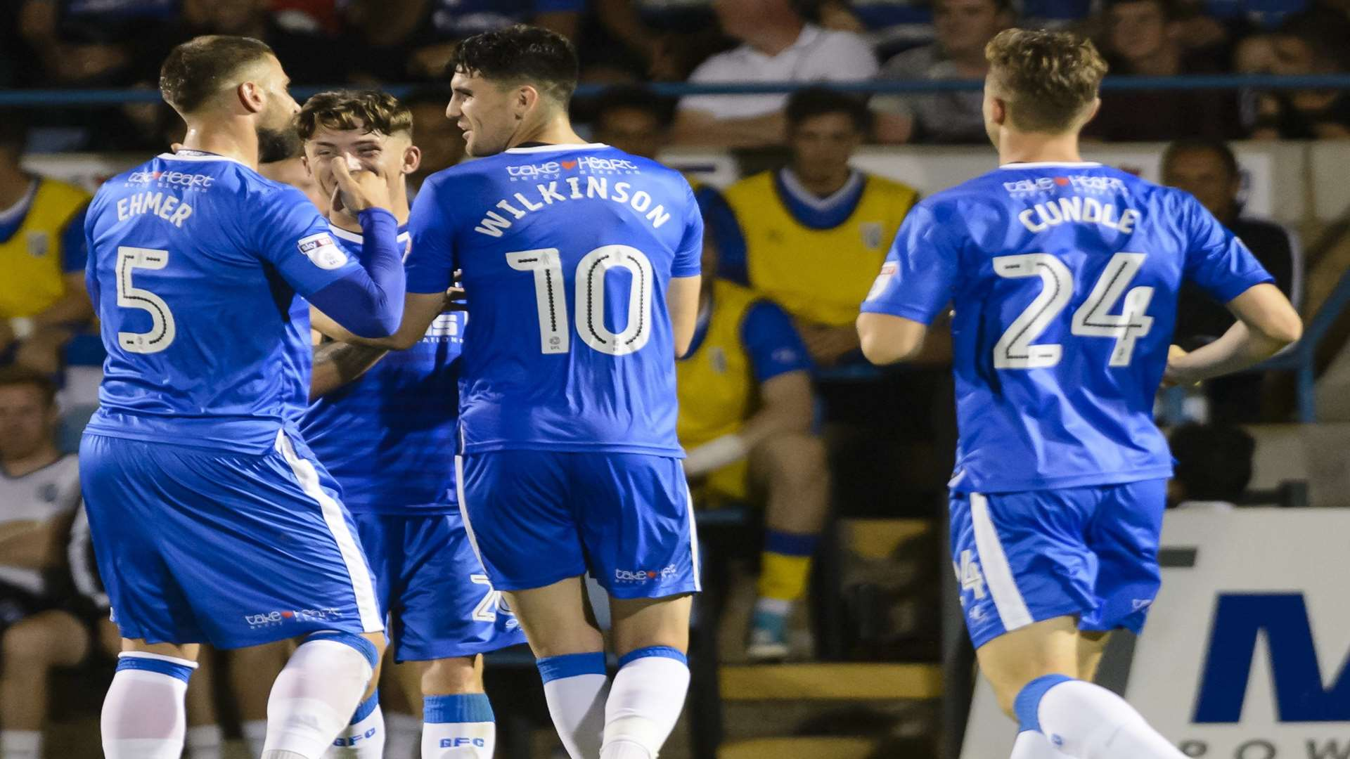 Gills celebrate their second goal against Southend. Picture: Andy Payton