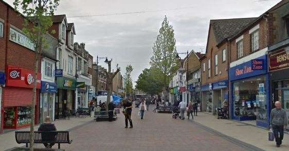 The alleged attempted robbery took place in Gillingham High Street. Picture: Google street views