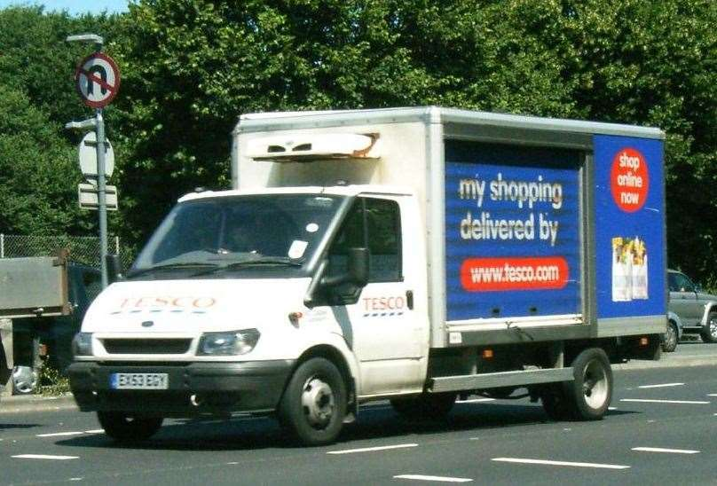 Tesco delivery vans. Stock picture
