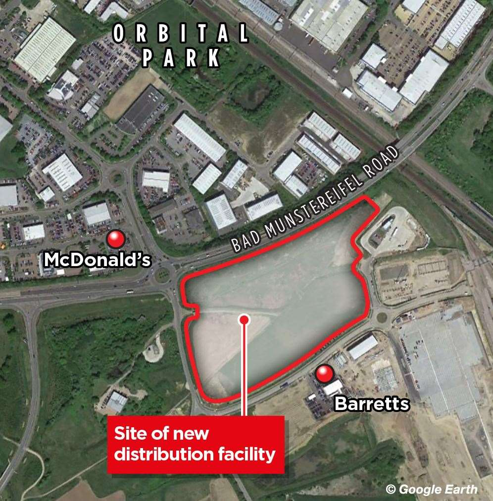 Where the Waterbrook distribution facility could be built