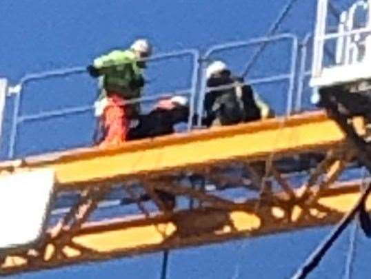 Workmen were spotted standing close to one another in Maidstone. Picture: Mark Seaman