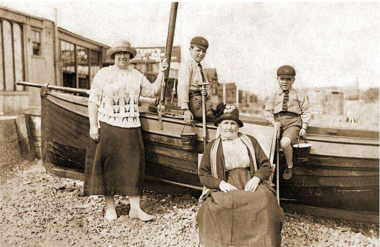 A grainy black and white version of family outing to Whitstable, circa 1925
