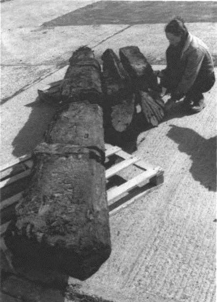The ship's rudder and sternpost were excavated in 1999 Picture: S.Miller (Kent Archaelogy Report)