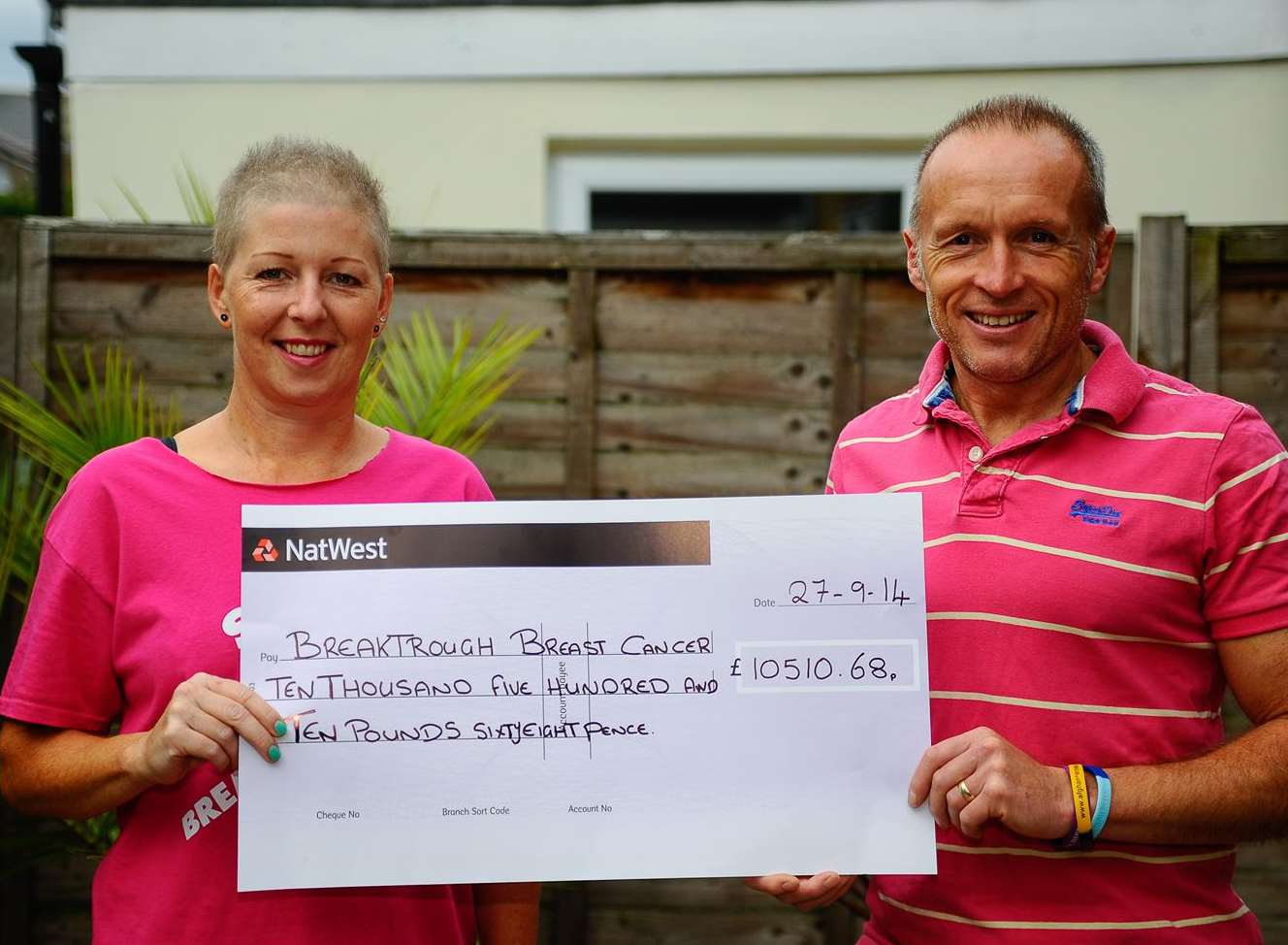 Chantele and Phil Rashbrook with their cheque for Breakthrough Breast Cancer