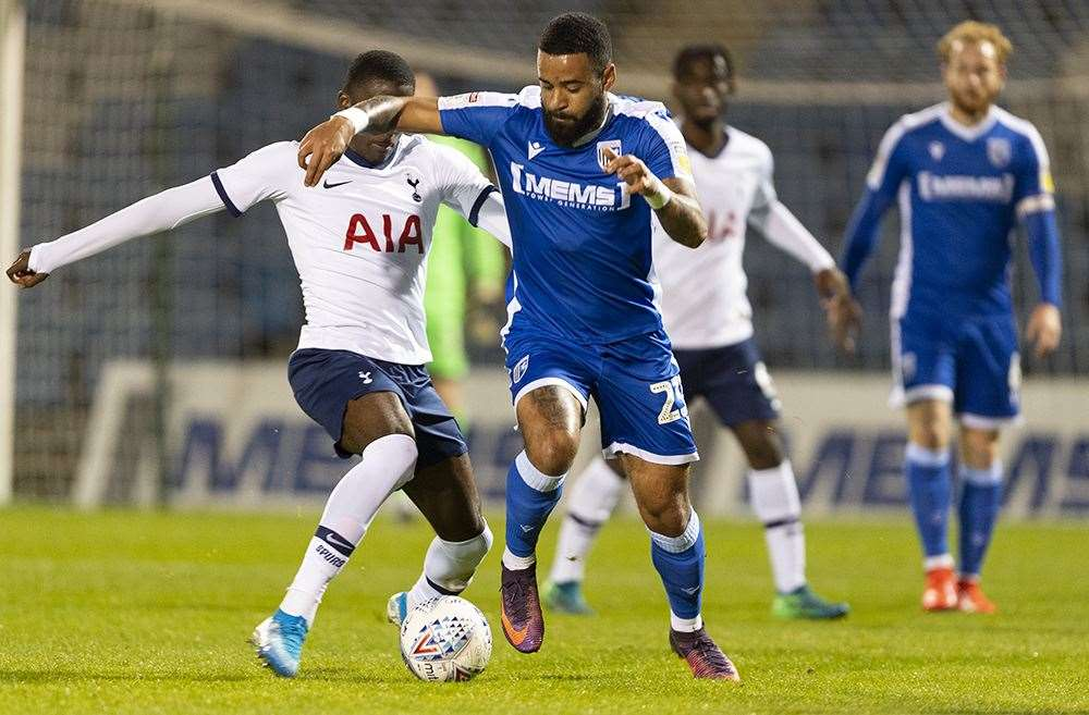 Gillingham vs Tottenham u21s action in the EFL Trophy Picture: Ady Kerry (21502824)