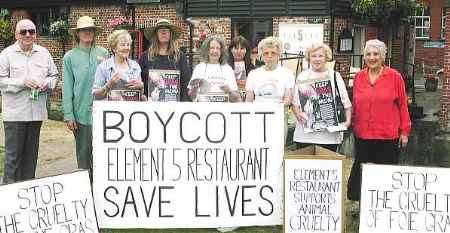 PROTEST: the campaigners outside the restaurant