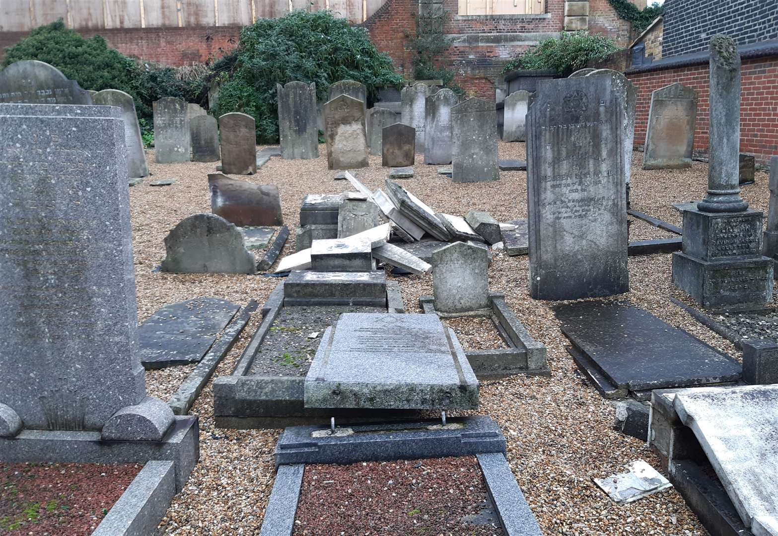Headstones have been vandalised at a Jewish Cemetery in Chatham