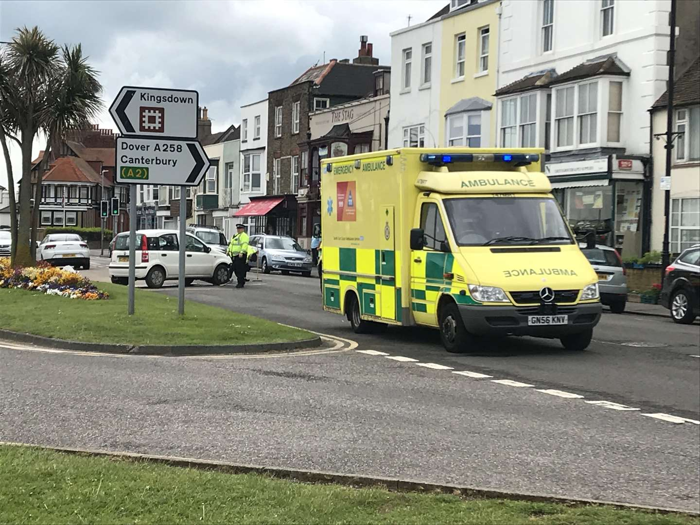 Medics were at the scene. Pic: Ellie Perkins