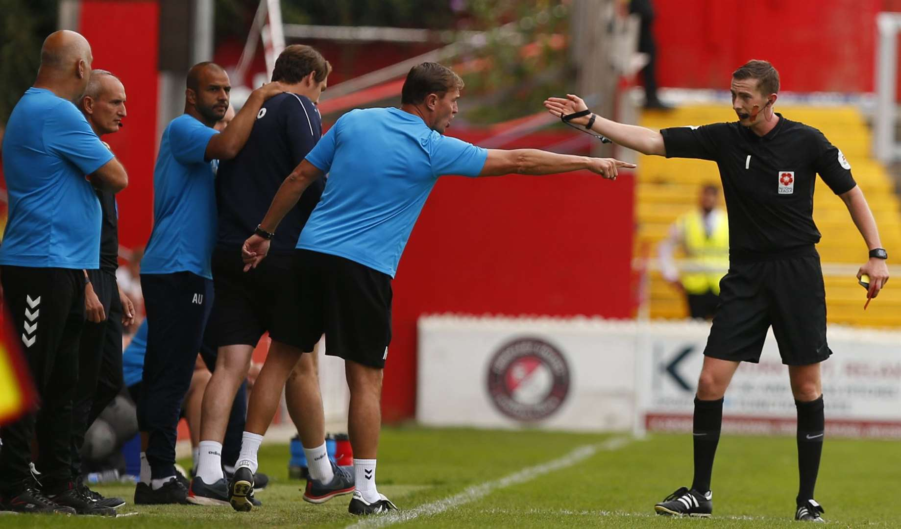 Ebbsfleet's then assistant manager Ian Hendon is sent off against Aldershot. Picture: Andy Jones