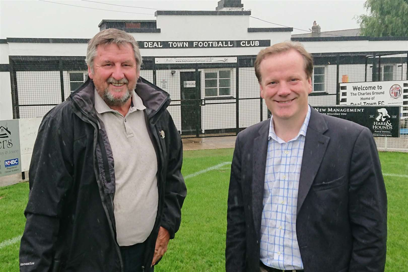 MP Charlie Elphicke with Deal Town FC chairman David Chmura