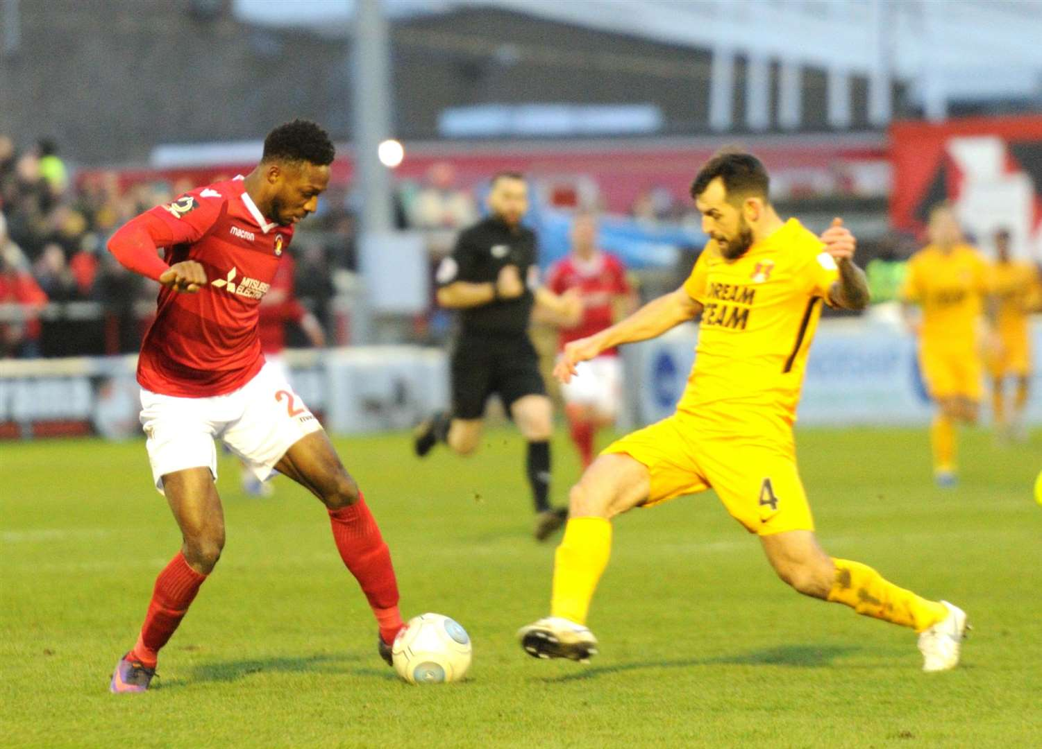 Bagasan Graham on the ball during Ebbsfleet's win over Leyton Orient Picture: Simon Hildrew