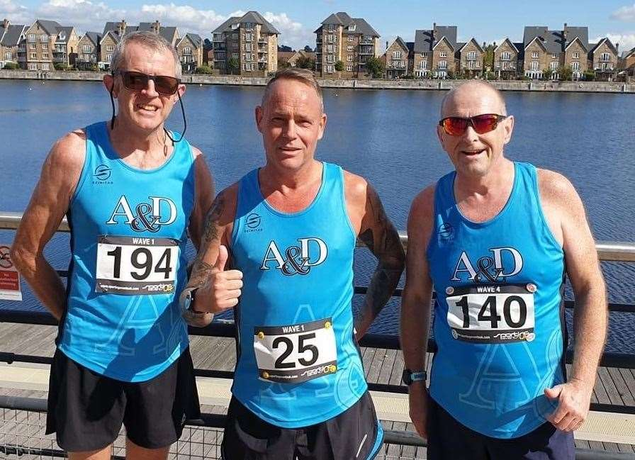 Ashford & District RRC's Adrian Moody, Adrian Beresford and Simon Jackson at the Chatham Maritime 10k