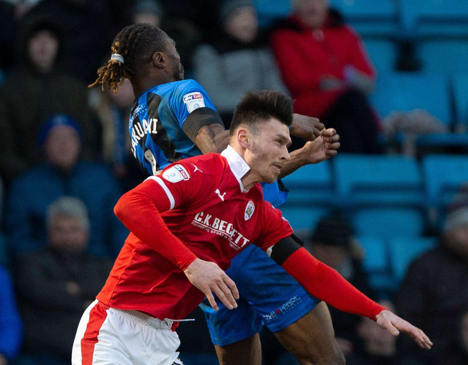 Gabriel Zakuani landed awkwardly after a challenge with Keiffer Moore on Saturday Picture: Ady Kerry
