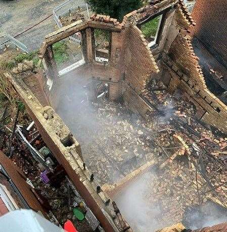 One house was so badly damaged it had to be demolished. Photo: KFRS