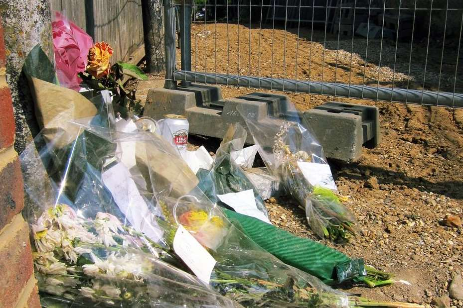 Flowers left at the scene of the tragedy in Bridgefield Road, Whitstable