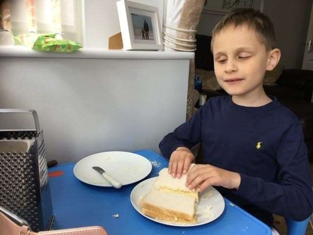 Theo has learnt how to make a sandwich